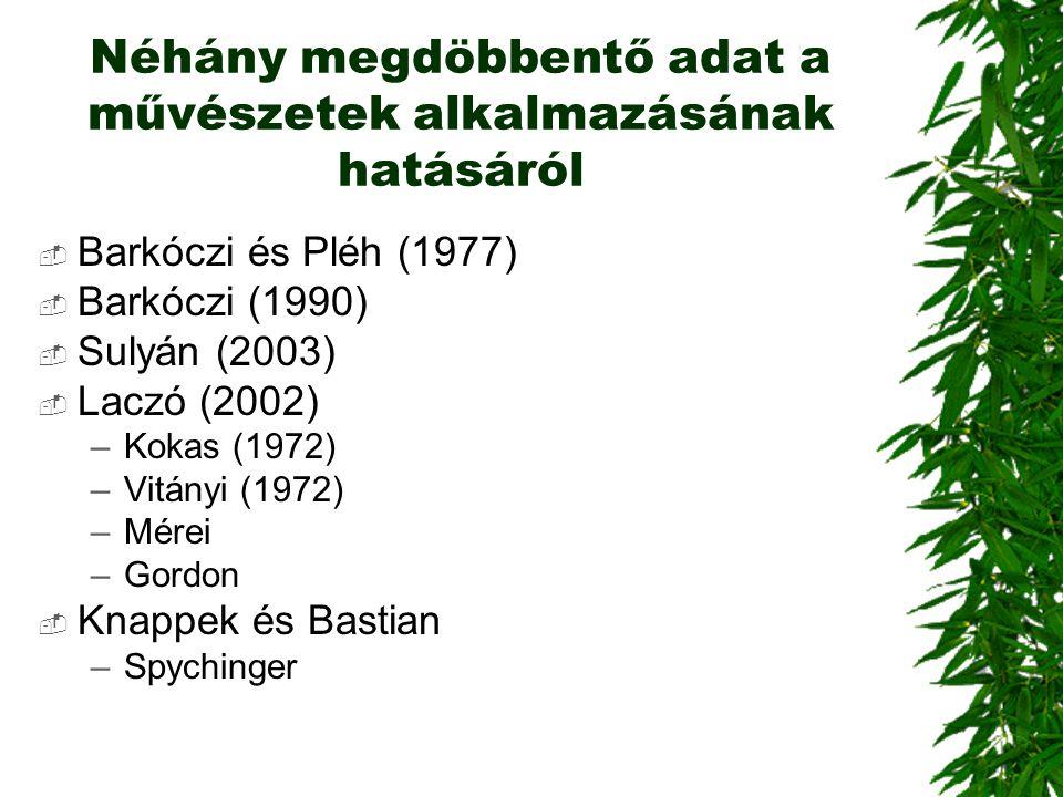 Néhány megdöbbentő adat a művészetek alkalmazásának hatásáról  Barkóczi és Pléh (1977)  Barkóczi (1990)  Sulyán (2003)  Laczó (2002) –Kokas (1972)