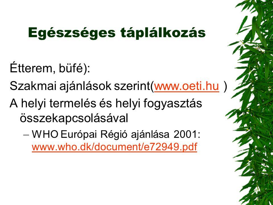 Egészséges táplálkozás Étterem, büfé): Szakmai ajánlások szerint(www.oeti.hu )www.oeti.hu A helyi termelés és helyi fogyasztás összekapcsolásával –WHO