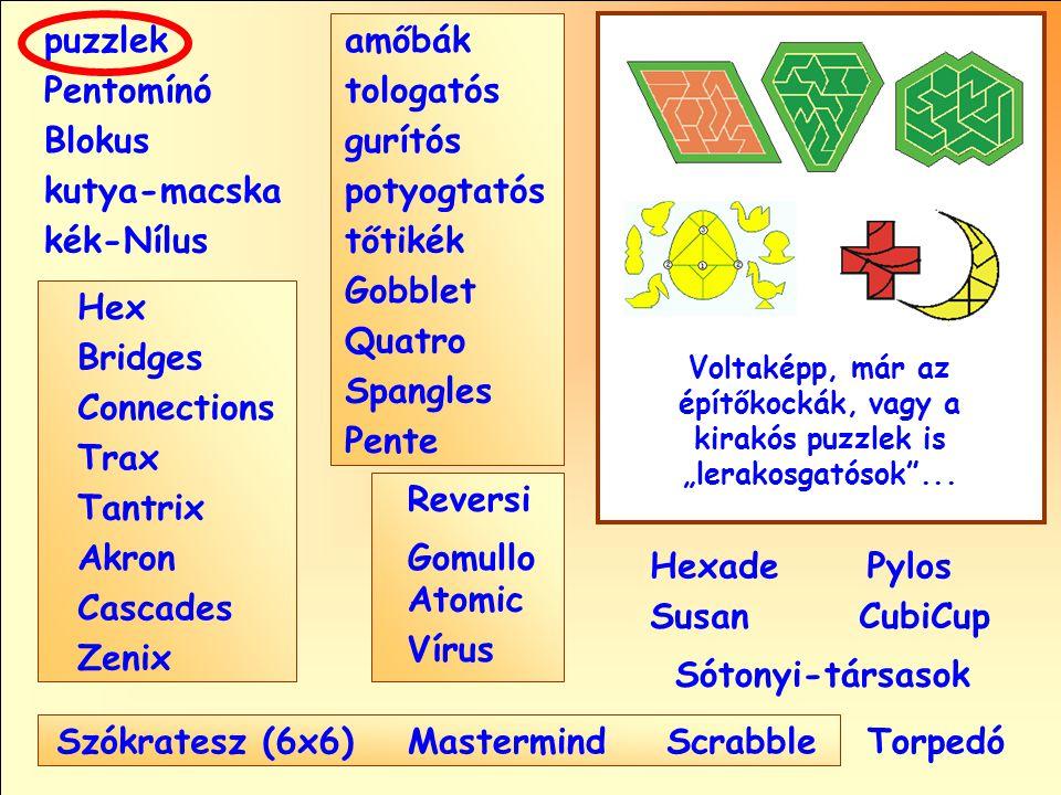 """Sótonyi-társasok Reversi Pylos Pentomínó puzzlek kutya-macska Susan Blokus amőbák Pente tologatós gurítós potyogtatós tőtikék Gobblet Quatro Spangles Hexade CubiCup Hex Vírus Atomic MastermindScrabble kék-Nílus GomulloAkron Zenix Tantrix Connections Trax Bridges Cascades Szókratesz (6x6) Voltaképp, már az építőkockák, vagy a kirakós puzzlek is """"lerakosgatósok ..."""