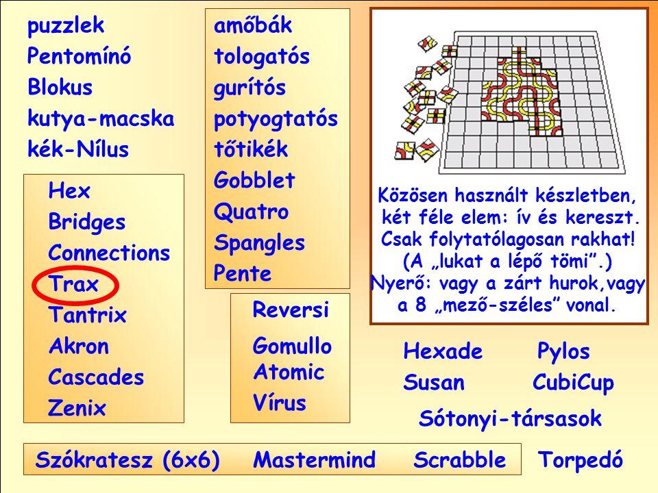 Sótonyi-társasok Reversi Pylos Pentomínó puzzlek kutya-macska Susan Blokus amőbák Pente tologatós gurítós potyogtatós tőtikék Gobblet Quatro Spangles Hexade CubiCup Hex Vírus Atomic MastermindScrabble kék-Nílus GomulloAkron Zenix Tantrix Connections Trax Bridges Cascades Szókratesz (6x6) Közösen használt készletben, két féle elem: ív és kereszt.