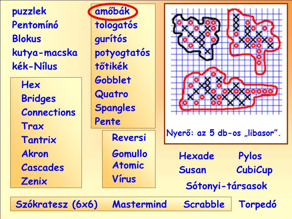 """Sótonyi-társasok Reversi Pylos Pentomínó puzzlek kutya-macska Susan Blokus amőbák Pente tologatós gurítós potyogtatós tőtikék Gobblet Quatro Spangles Hexade CubiCup Hex Vírus Atomic MastermindScrabble kék-Nílus GomulloAkron Zenix Tantrix Connections Trax Bridges Cascades Szókratesz (6x6) Nyerő: az 5 db-os """"libasor ."""