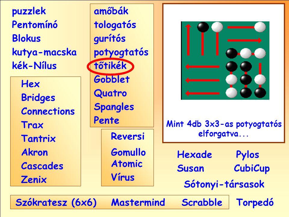 Sótonyi-társasok Reversi Pylos Pentomínó puzzlek kutya-macska Susan Blokus amőbák Pente tologatós gurítós potyogtatós tőtikék Gobblet Quatro Spangles Hexade CubiCup Hex Vírus Atomic MastermindScrabble kék-Nílus GomulloAkron Zenix Tantrix Connections Trax Bridges Cascades Szókratesz (6x6) Mint 4db 3x3-as potyogtatós elforgatva...