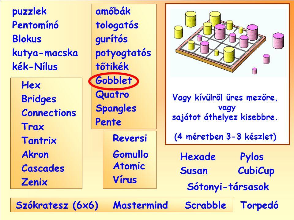 Sótonyi-társasok Reversi Pylos Pentomínó puzzlek kutya-macska Susan Blokus amőbák Pente tologatós gurítós potyogtatós tőtikék Gobblet Quatro Spangles Hexade CubiCup Hex Vírus Atomic MastermindScrabble kék-Nílus GomulloAkron Zenix Tantrix Connections Trax Bridges Cascades Szókratesz (6x6) Vagy kívülről üres mezőre, vagy sajátot áthelyez kisebbre.