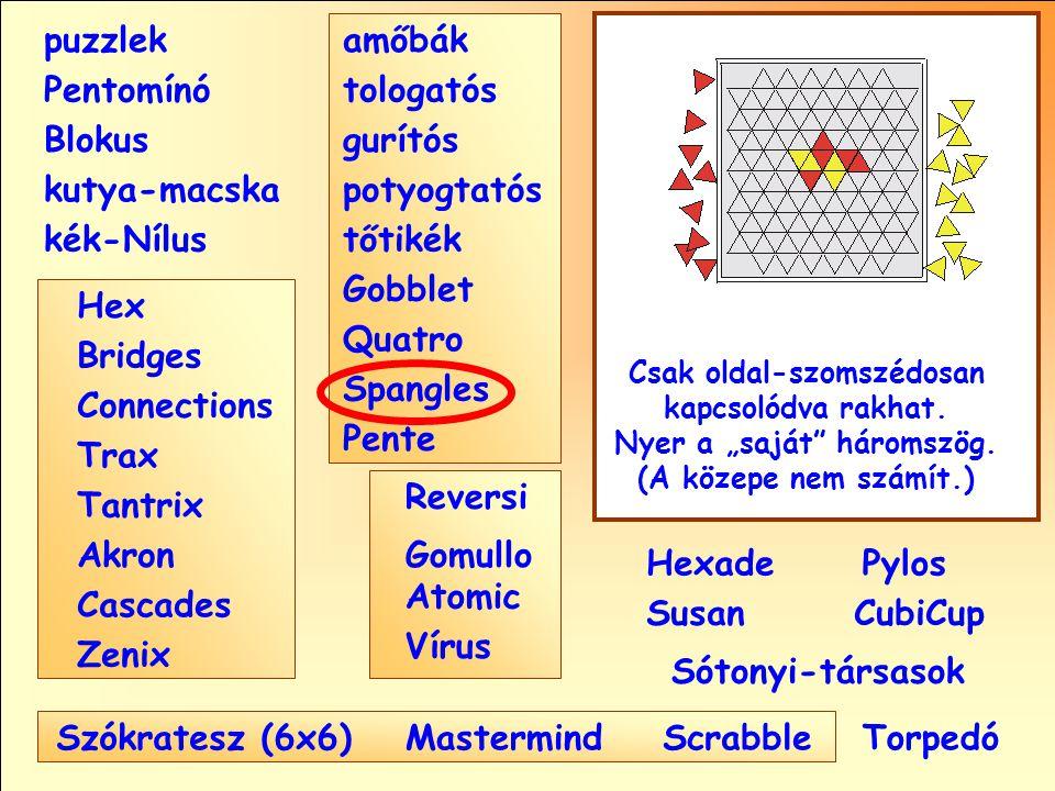 Sótonyi-társasok Reversi Pylos Pentomínó puzzlek kutya-macska Susan Blokus amőbák Pente tologatós gurítós potyogtatós tőtikék Gobblet Quatro Spangles Hexade CubiCup Hex Vírus Atomic MastermindScrabble kék-Nílus GomulloAkron Zenix Tantrix Connections Trax Bridges Cascades Szókratesz (6x6) Csak oldal-szomszédosan kapcsolódva rakhat.