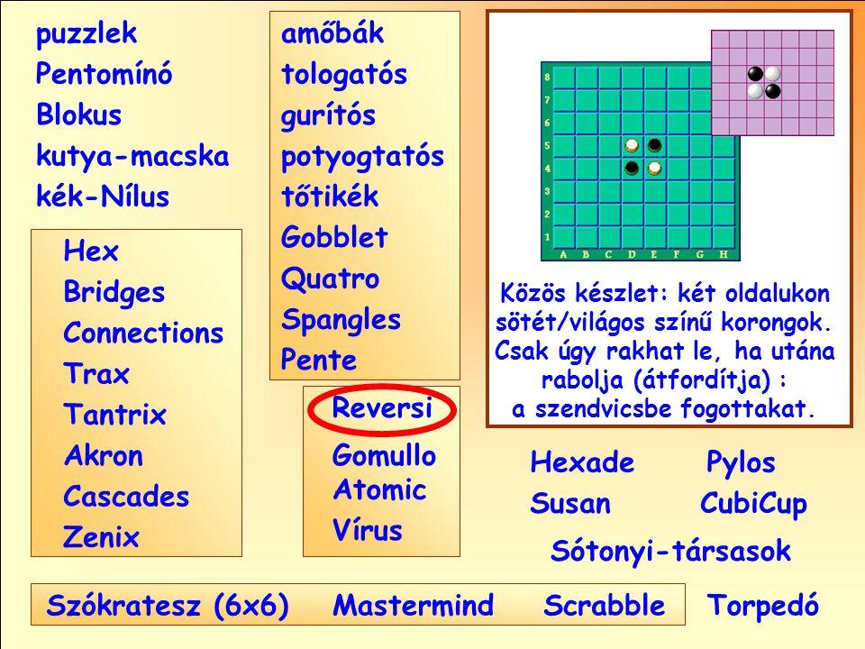 Sótonyi-társasok Reversi Pylos Pentomínó puzzlek kutya-macska Susan Blokus amőbák Pente tologatós gurítós potyogtatós tőtikék Gobblet Quatro Spangles Hexade CubiCup Hex Vírus Atomic MastermindScrabble kék-Nílus GomulloAkron Zenix Tantrix Connections Trax Bridges Cascades Szókratesz (6x6) Közös készlet: két oldalukon sötét/világos színű korongok.
