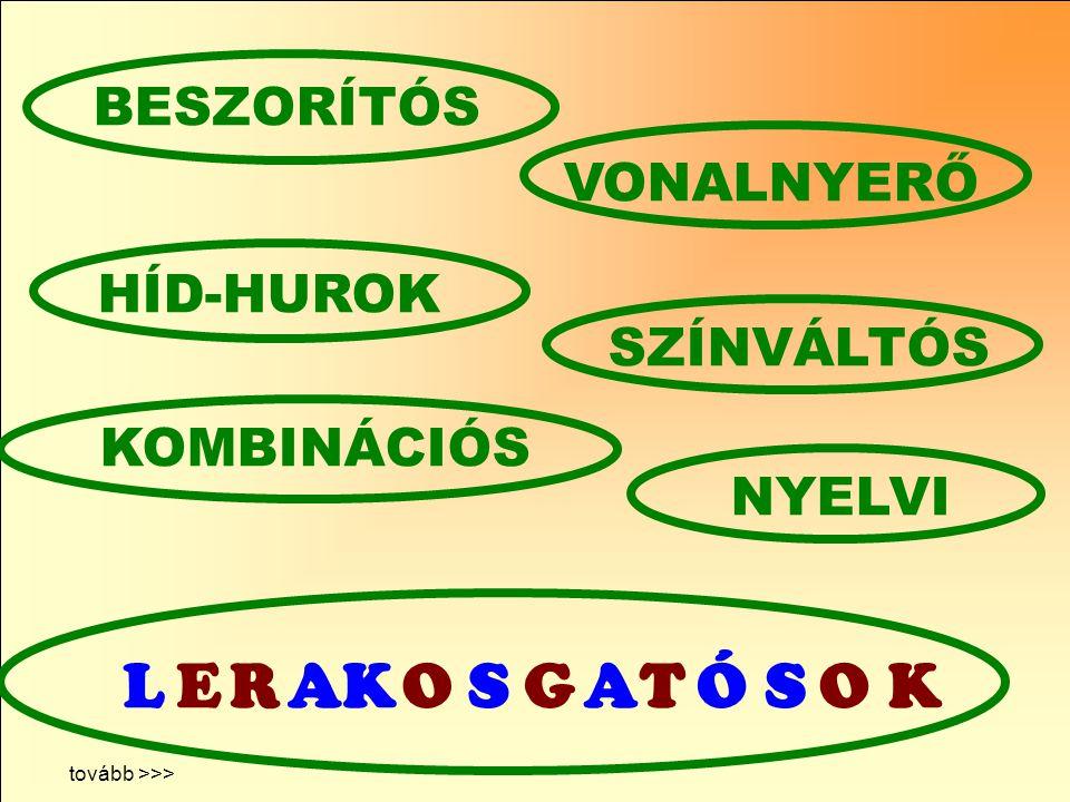 NYELVI HÍD-HUROK BESZORÍTÓS VONALNYERŐ tovább >>> LERAKOSGATÓSOK KOMBINÁCIÓS SZÍNVÁLTÓS