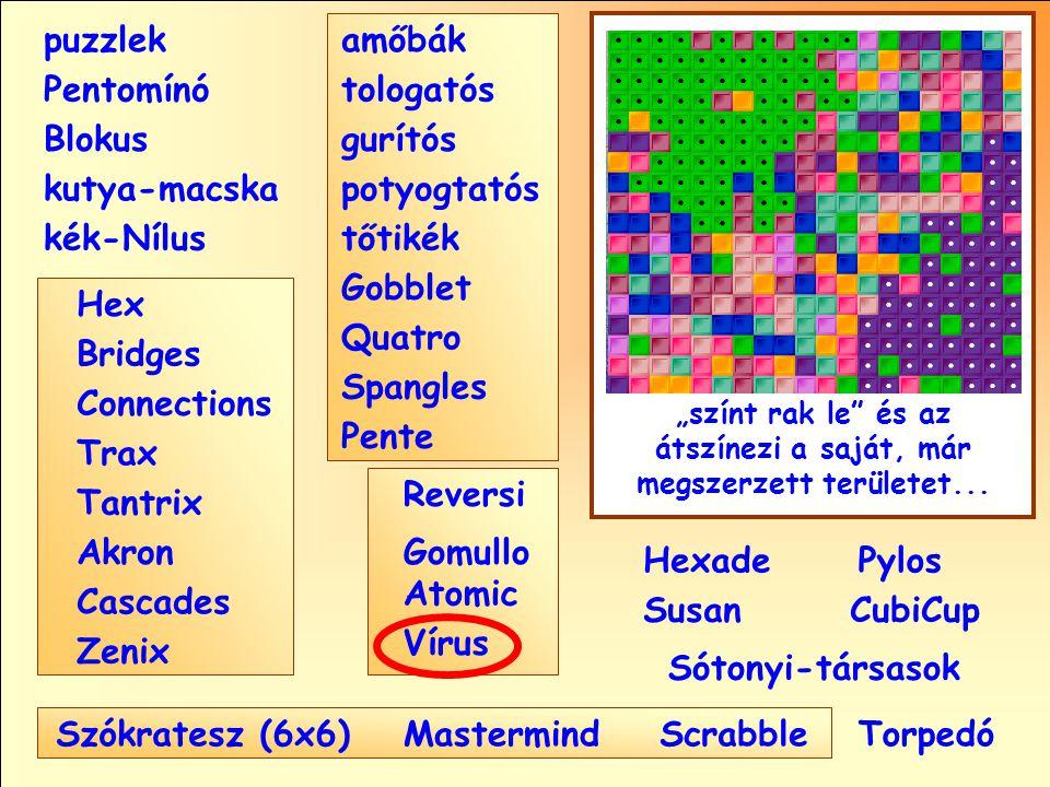 """Sótonyi-társasok Reversi Pylos Pentomínó puzzlek kutya-macska Susan Blokus amőbák Pente tologatós gurítós potyogtatós tőtikék Gobblet Quatro Spangles Hexade CubiCup Hex Vírus Atomic MastermindScrabble kék-Nílus Gomullo """"színt rak le és az átszínezi a saját, már megszerzett területet..."""