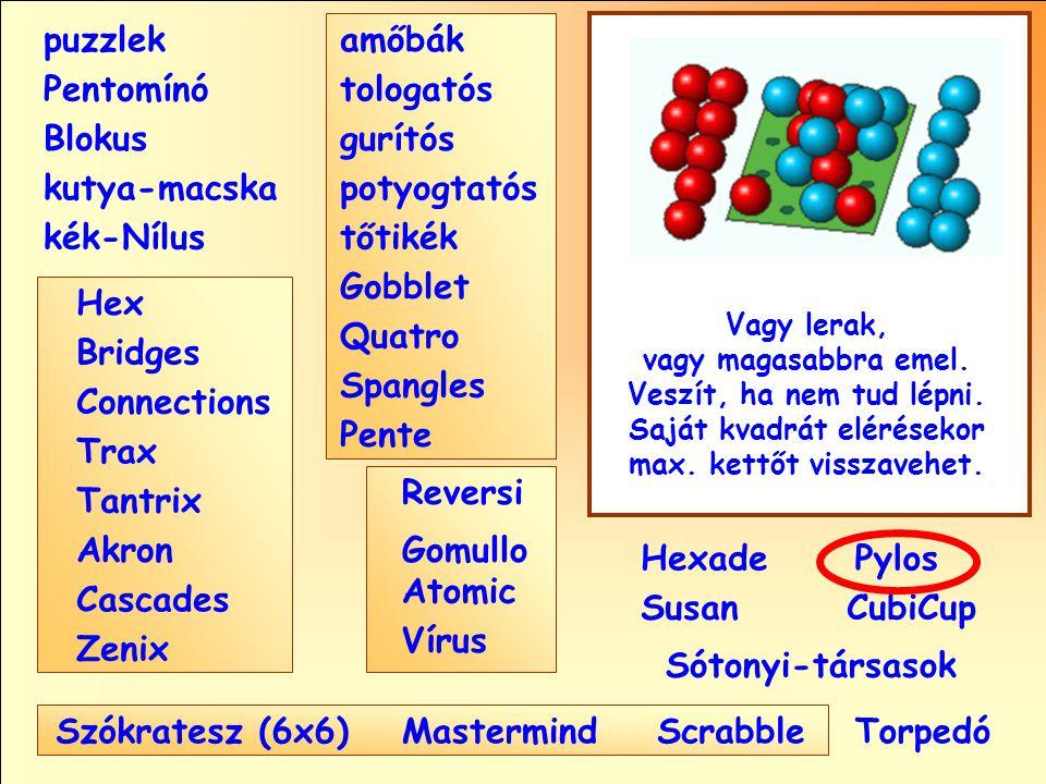 Sótonyi-társasok Reversi Pylos Pentomínó puzzlek kutya-macska Susan Blokus amőbák Pente tologatós gurítós potyogtatós tőtikék Gobblet Quatro Spangles Hexade CubiCup Hex Vírus Atomic MastermindScrabble kék-Nílus GomulloAkron Zenix Tantrix Connections Trax Bridges Cascades Szókratesz (6x6) Vagy lerak, vagy magasabbra emel.