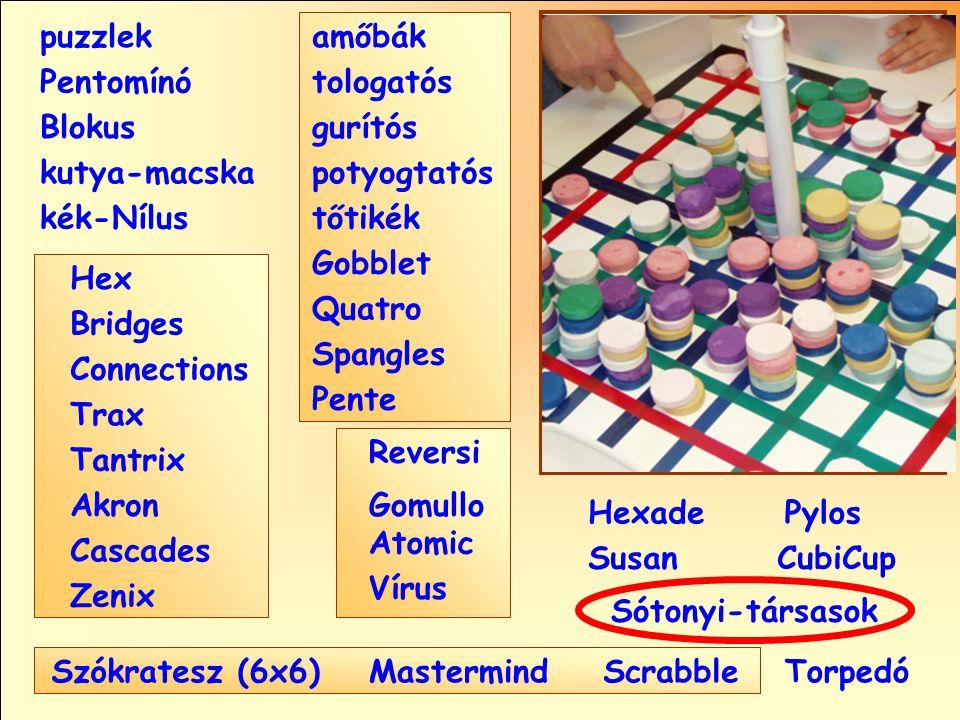 Sótonyi-társasok Reversi Pylos Pentomínó puzzlek kutya-macska Susan Blokus amőbák Pente tologatós gurítós potyogtatós tőtikék Gobblet Quatro Spangles Hexade CubiCup Hex Vírus Atomic MastermindScrabble kék-Nílus GomulloAkron Zenix Tantrix Connections Trax Bridges Cascades Szókratesz (6x6)Torpedó