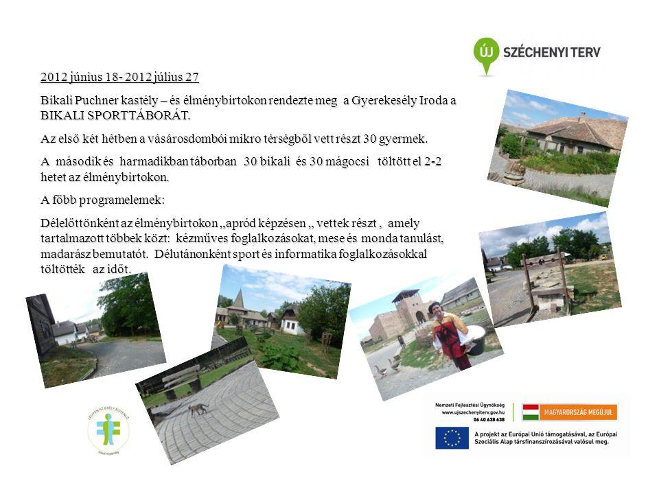 2012 június 18- 2012 július 27 Bikali Puchner kastély – és élménybirtokon rendezte meg a Gyerekesély Iroda a BIKALI SPORTTÁBORÁT.