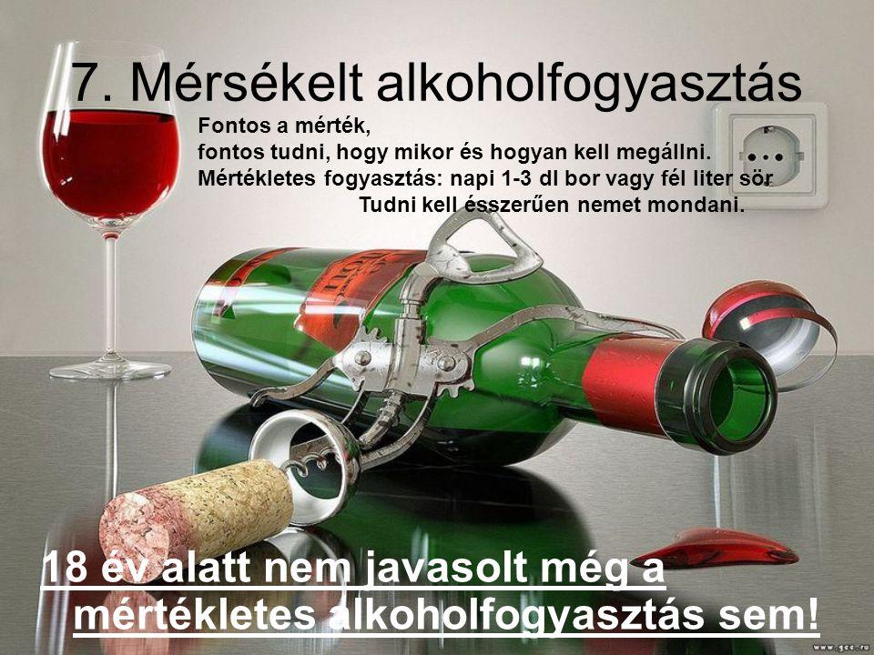 7.Mérsékelt alkoholfogyasztás 18 év alatt nem javasolt még a mértékletes alkoholfogyasztás sem.