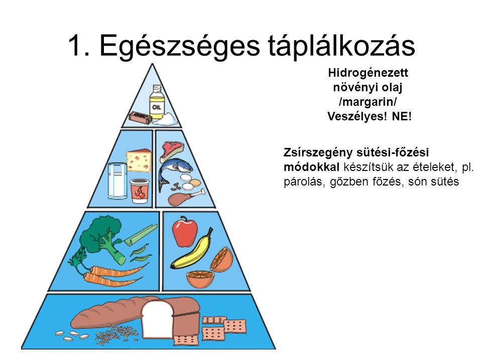 1.Egészséges táplálkozás Hidrogénezett növényi olaj /margarin/ Veszélyes.