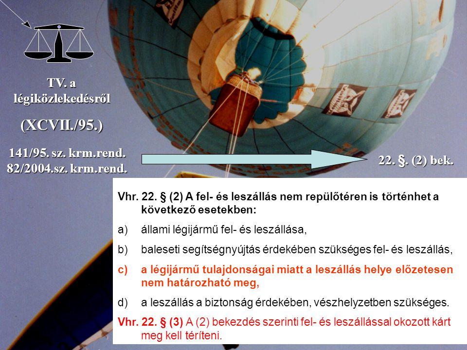 TV. a légiközlekedésről (XCVII./95.) 141/95. sz. krm.rend. 82/2004.sz. krm.rend. 22. §. (2) bek. Vhr. 22. § (2) A fel- és leszállás nem repülőtéren is