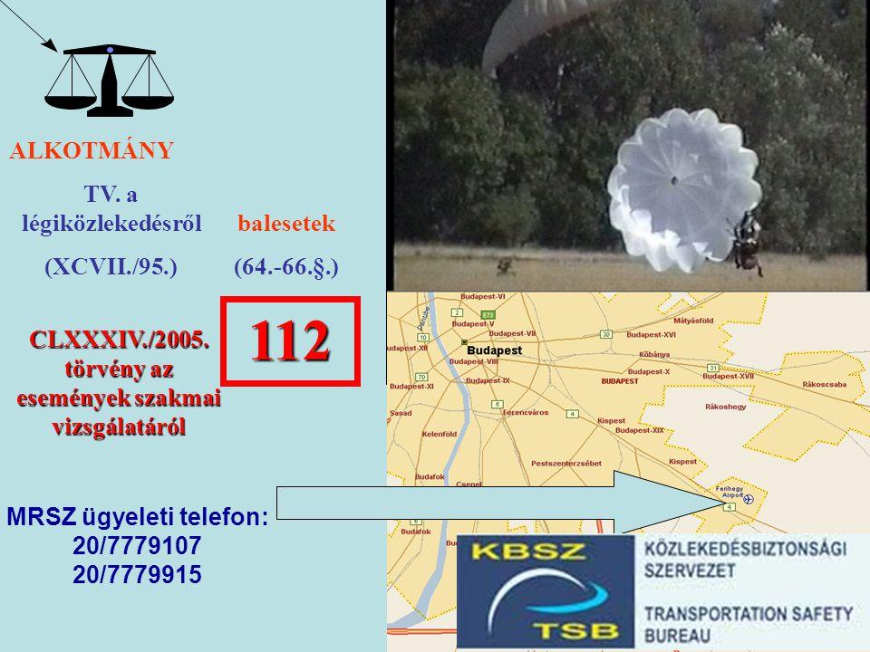 ALKOTMÁNY TV. a légiközlekedésről (XCVII./95.) balesetek (64.-66.§.) 112 CLXXXIV./2005. törvény az események szakmai vizsgálatáról MRSZ ügyeleti telef