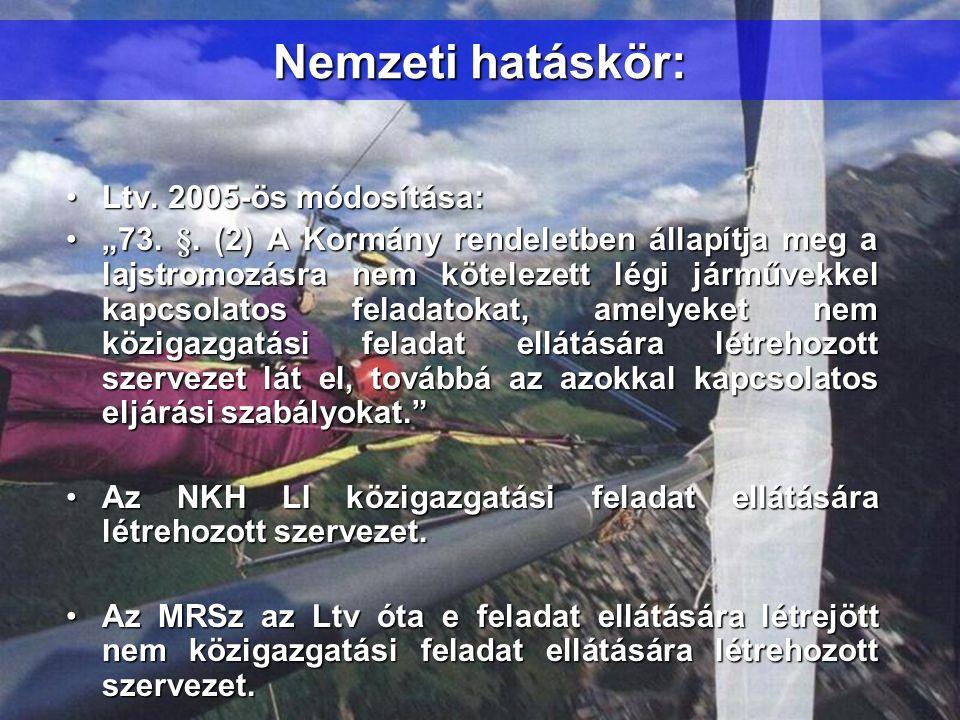 """Nemzeti hatáskör: •Ltv. 2005-ös módosítása: •""""73. §. (2) A Kormány rendeletben állapítja meg a lajstromozásra nem kötelezett légi járművekkel kapcsola"""