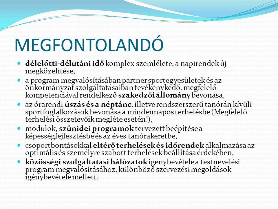 MEGFONTOLANDÓ  délelőtti-délutáni idő komplex szemlélete, a napirendek új megközelítése,  a program megvalósításában partner sportegyesületek és az