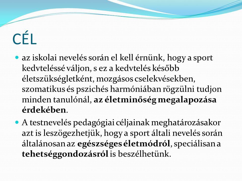 CÉL  az iskolai nevelés során el kell érnünk, hogy a sport kedvteléssé váljon, s ez a kedvtelés később életszükségletként, mozgásos cselekvésekben, s