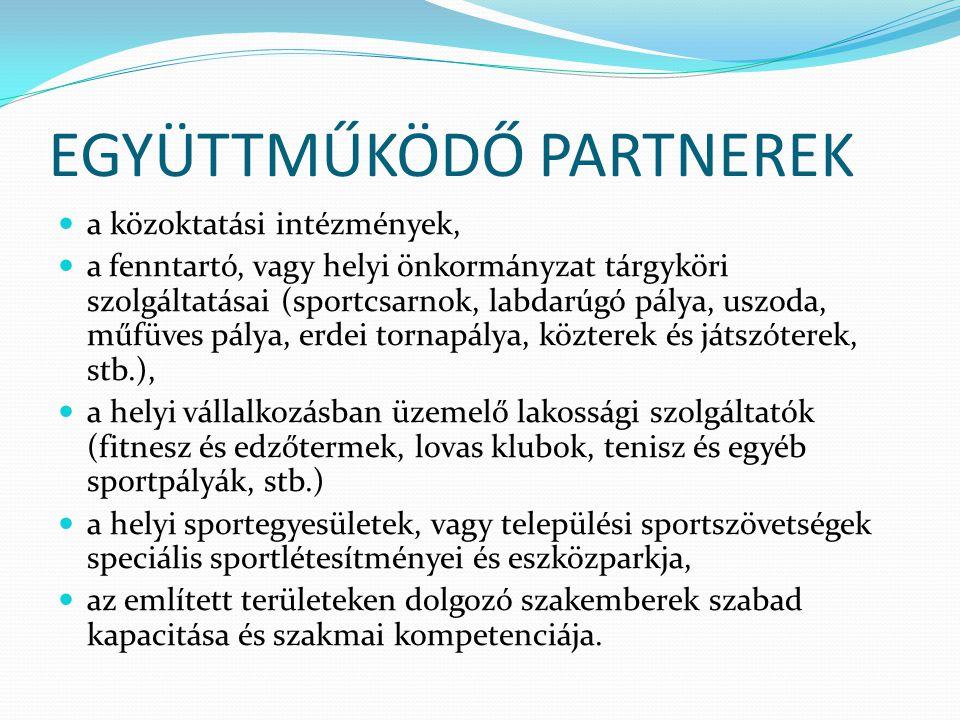 EGYÜTTMŰKÖDŐ PARTNEREK  a közoktatási intézmények,  a fenntartó, vagy helyi önkormányzat tárgyköri szolgáltatásai (sportcsarnok, labdarúgó pálya, us