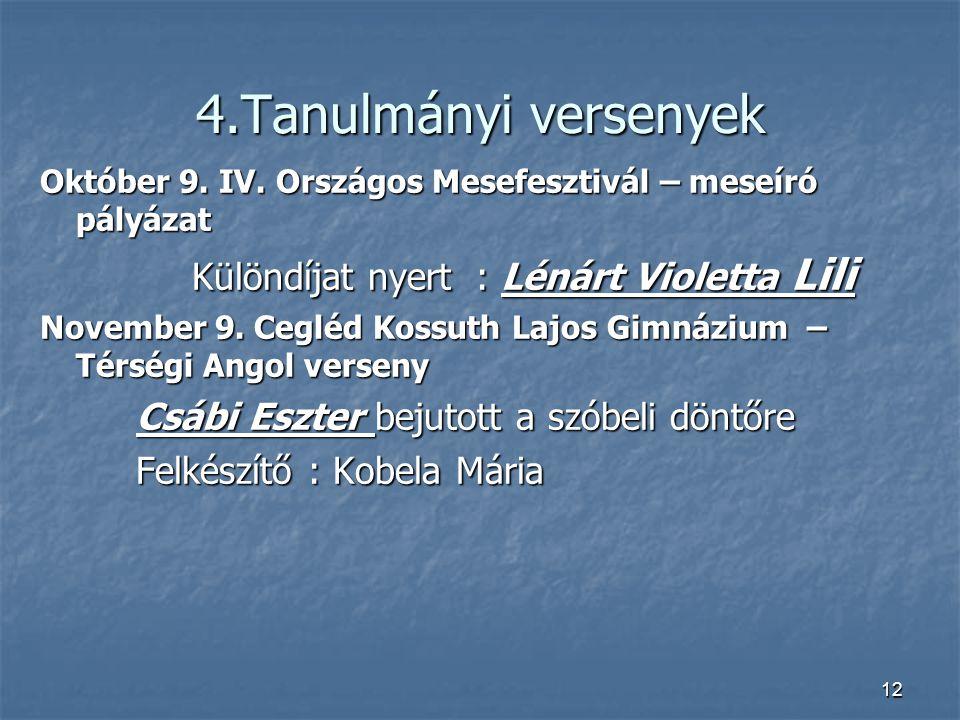 4.Tanulmányi versenyek Október 9.IV.