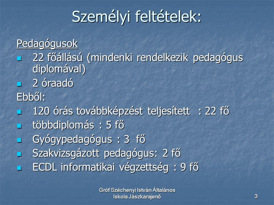 Gróf Széchenyi István Általános Iskola Jászkarajenő4 Személyi feltételek Egyéb foglalkoztatott:  Gyógypedagógiai és ped.