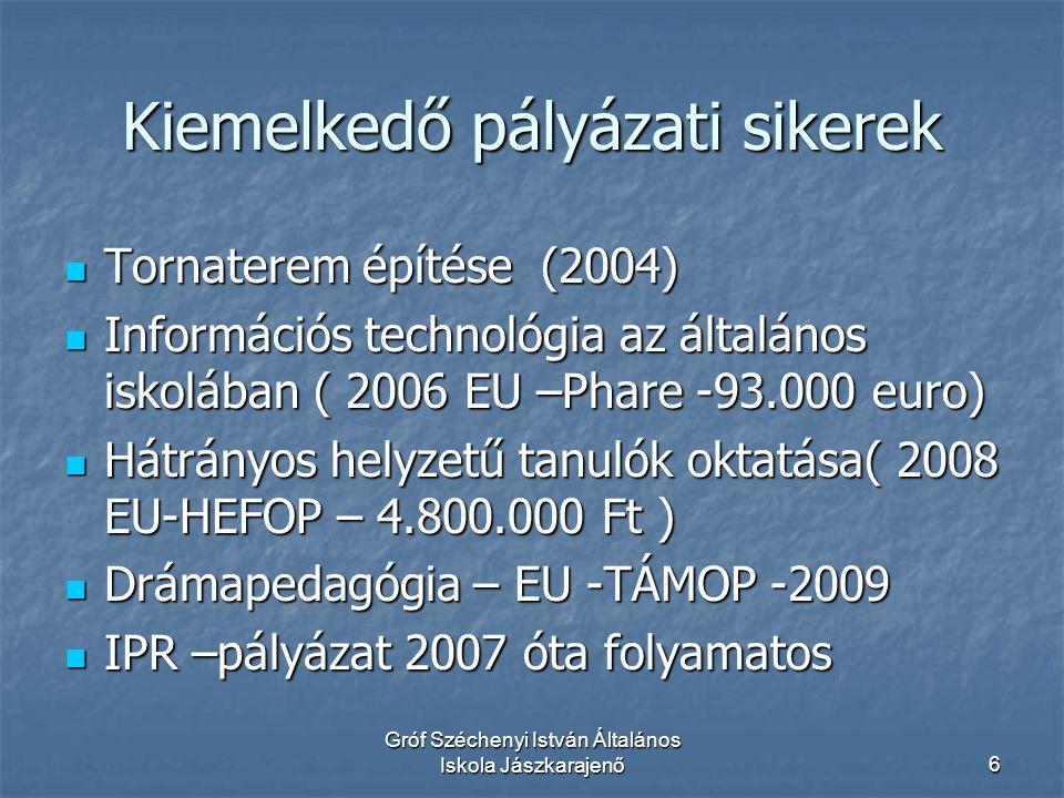 Gróf Széchenyi István Általános Iskola Jászkarajenő6 Kiemelkedő pályázati sikerek  Tornaterem építése (2004)  Információs technológia az általános iskolában ( 2006 EU –Phare -93.000 euro)  Hátrányos helyzetű tanulók oktatása( 2008 EU-HEFOP – 4.800.000 Ft )  Drámapedagógia – EU -TÁMOP -2009  IPR –pályázat 2007 óta folyamatos