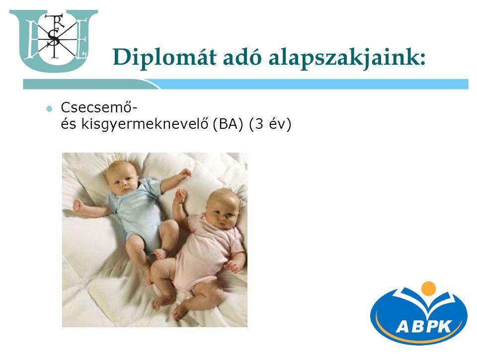Diplomát adó alapszakjaink:  Csecsemő- és kisgyermeknevelő (BA) (3 év)