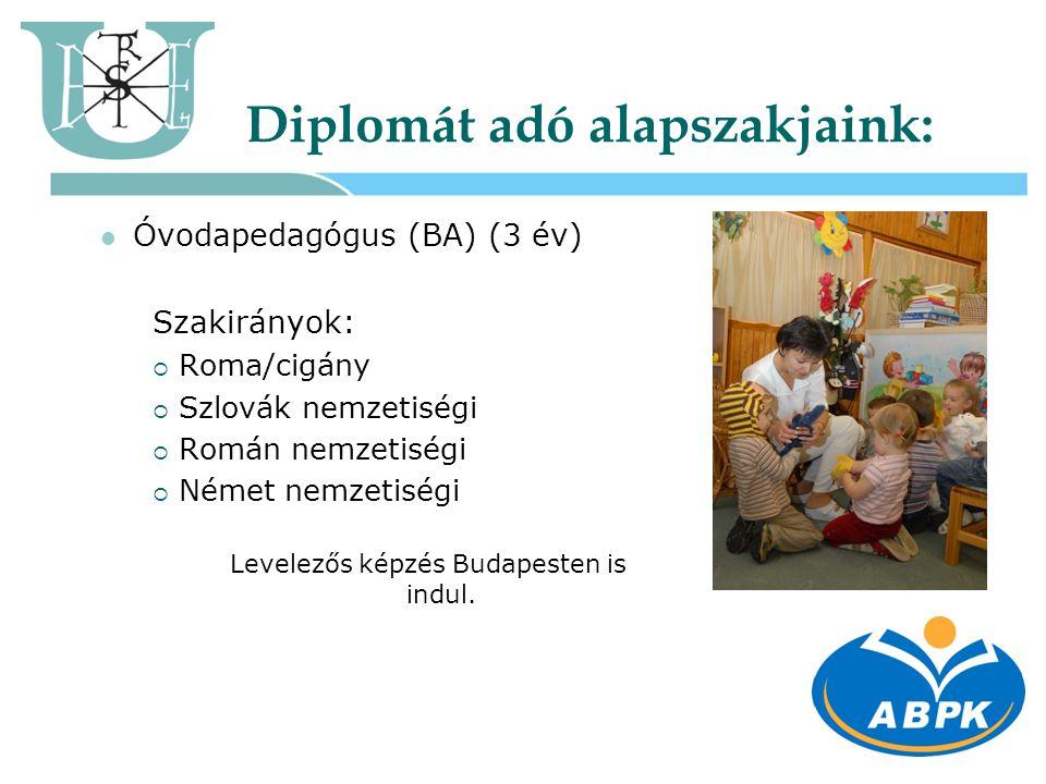 Diplomát adó alapszakjaink:  Óvodapedagógus (BA) (3 év) Szakirányok:  Roma/cigány  Szlovák nemzetiségi  Román nemzetiségi  Német nemzetiségi Leve