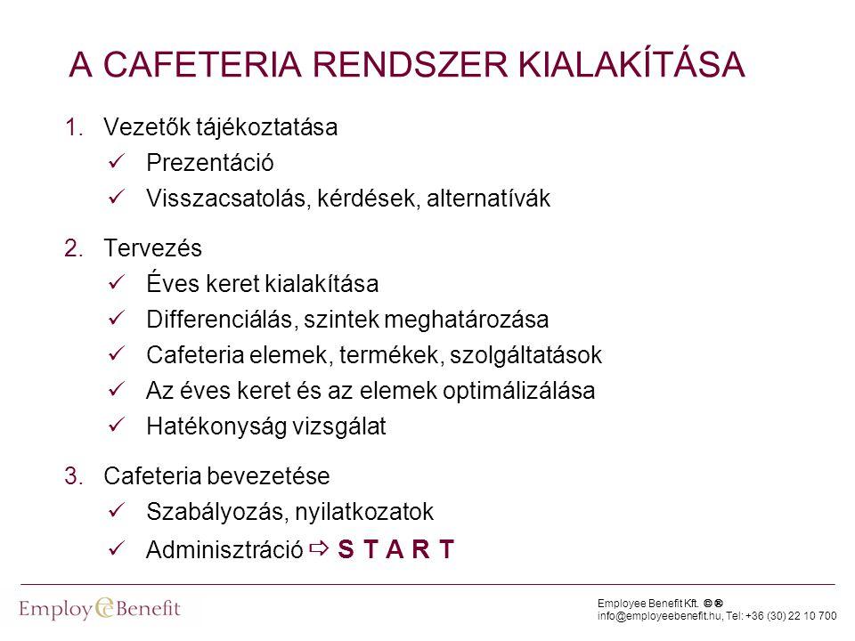 Employee Benefit Kft. © ® info@employeebenefit.hu, Tel: +36 (30) 22 10 700 A CAFETERIA RENDSZER KIALAKÍTÁSA 1.Vezetők tájékoztatása  Prezentáció  Vi