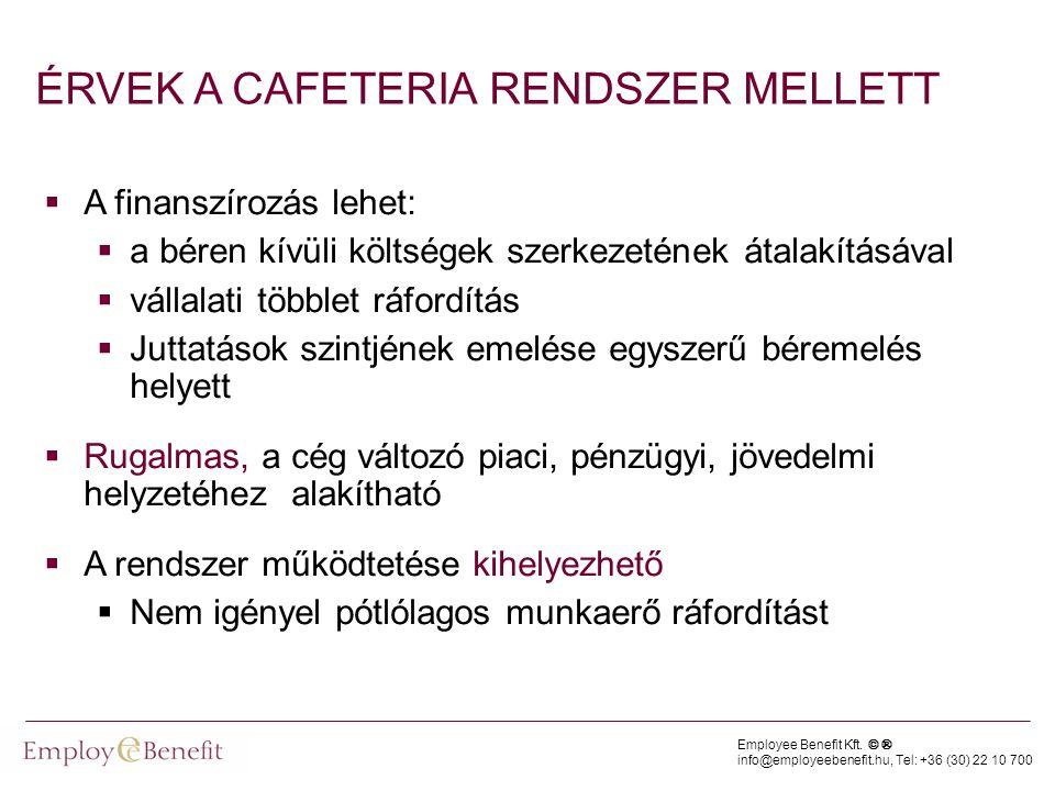 Employee Benefit Kft. © ® info@employeebenefit.hu, Tel: +36 (30) 22 10 700 ÉRVEK A CAFETERIA RENDSZER MELLETT  A finanszírozás lehet:  a béren kívül