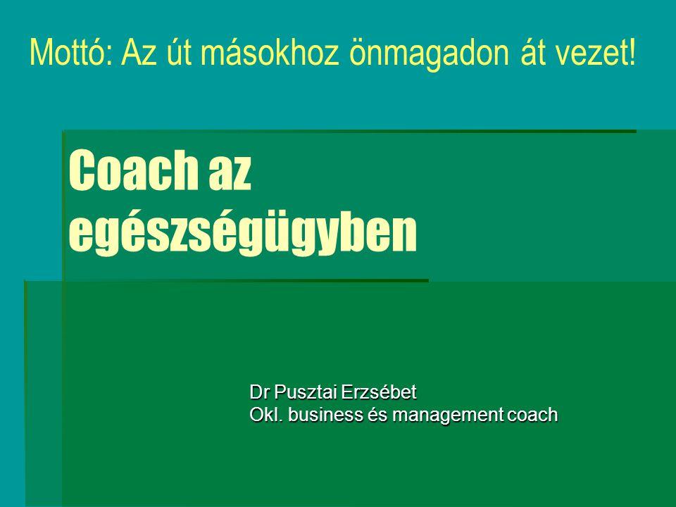 Coaching  Személy, vagy csoport támogatása, amely megfelelő eszközök birtokában  rugalmasabbá teszi a személyt és/ vagy szervezetet,  növeli változásra való képességét, Elősegíti, hogy  felismerje az önmaga által állított belső korlátokat, előidézett zavarokat,  javítja a személy önirányító képességét, a csoport együttműködését és sikerességét.
