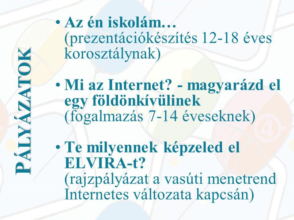 P ÁLYÁZATOK •Az én iskolám… (prezentációkészítés 12-18 éves korosztálynak) •Mi az Internet.