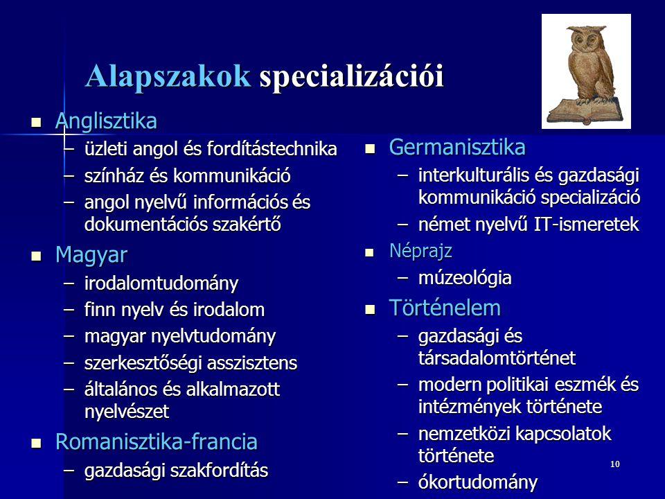 10 Alapszakok specializációi  Anglisztika –üzleti angol és fordítástechnika –színház és kommunikáció –angol nyelvű információs és dokumentációs szaké