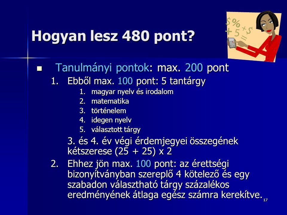 17 Hogyan lesz 480 pont?  Tanulmányi pontok: max. 200 pont 1.Ebből max. 100 pont: 5 tantárgy 1.magyar nyelv és irodalom 2.matematika 3.történelem 4.i