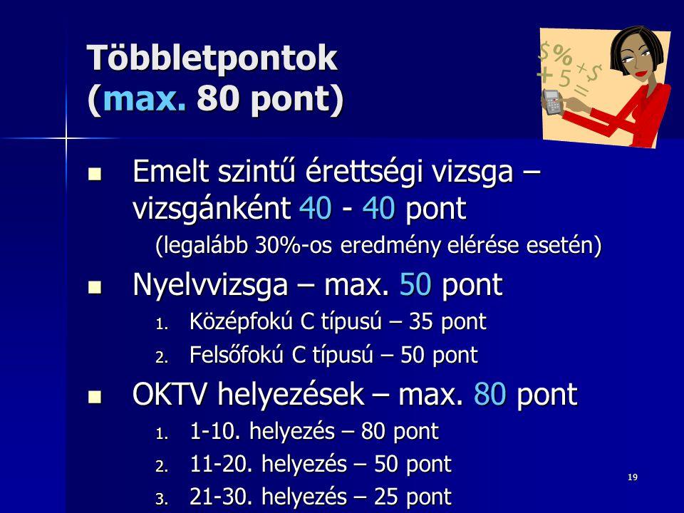 19 Többletpontok (max. 80 pont)  Emelt szintű érettségi vizsga – vizsgánként 40 - 40 pont (legalább 30%-os eredmény elérése esetén)  Nyelvvizsga – m