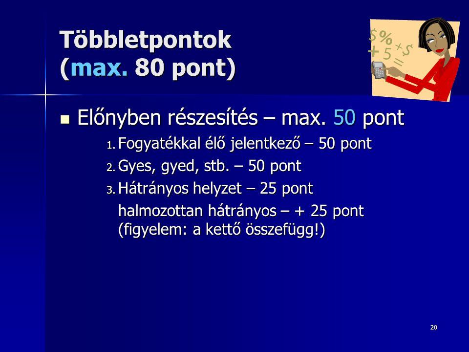 20 Többletpontok (max. 80 pont)  Előnyben részesítés – max. 50 pont 1. Fogyatékkal élő jelentkező – 50 pont 2. Gyes, gyed, stb. – 50 pont 3. Hátrányo