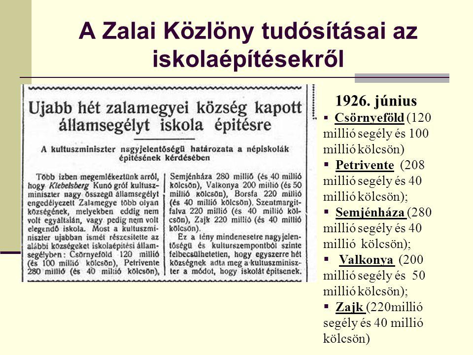 A Zalai Közlöny tudósításai az iskolaépítésekről 1926. június  Csörnyeföld (120 millió segély és 100 millió kölcsön)  Petrivente (208 millió segély