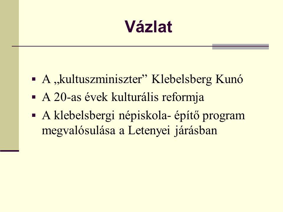 """Vázlat  A """"kultuszminiszter"""" Klebelsberg Kunó  A 20-as évek kulturális reformja  A klebelsbergi népiskola- építő program megvalósulása a Letenyei j"""