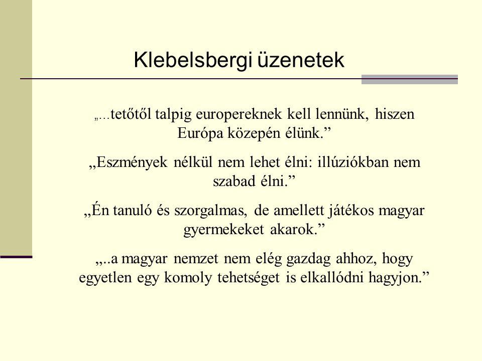 """""""… tetőtől talpig europereknek kell lennünk, hiszen Európa közepén élünk. """"Eszmények nélkül nem lehet élni: illúziókban nem szabad élni. """"Én tanuló és szorgalmas, de amellett játékos magyar gyermekeket akarok. """"..a magyar nemzet nem elég gazdag ahhoz, hogy egyetlen egy komoly tehetséget is elkallódni hagyjon. Klebelsbergi üzenetek"""