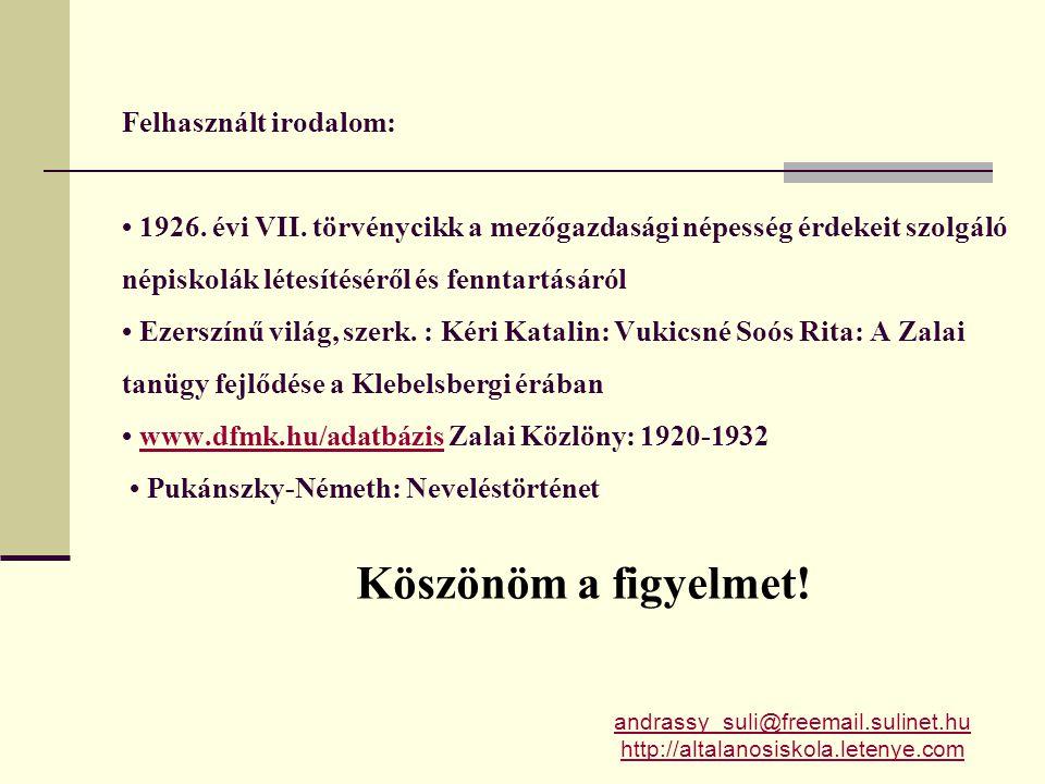 Felhasznált irodalom: • 1926.évi VII.