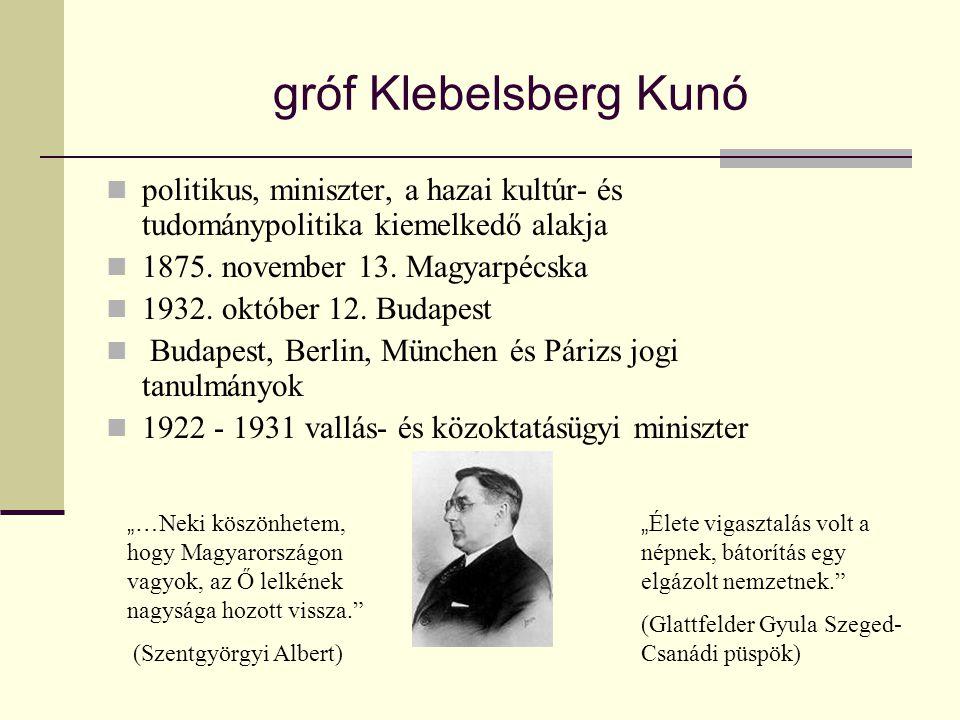 gróf Klebelsberg Kunó  politikus, miniszter, a hazai kultúr- és tudománypolitika kiemelkedő alakja  1875. november 13. Magyarpécska  1932. október