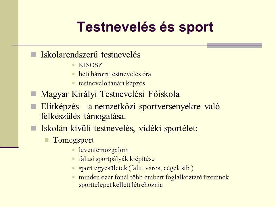 Testnevelés és sport  Iskolarendszerű testnevelés  KISOSZ  heti három testnevelés óra  testnevelő tanári képzés  Magyar Királyi Testnevelési Főiskola  Elitképzés – a nemzetközi sportversenyekre való felkészülés támogatása.