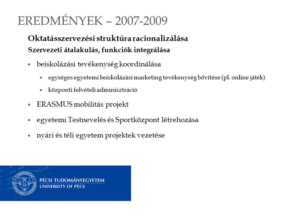 EREDMÉNYEK – 2007-2009 Oktatásszervezési struktúra racionalizálása Szervezeti átalakulás, funkciók integrálása  beiskolázási tevékenység koordinálása  egységes egyetemi beiskolázási marketing tevékenység bővítése (pl.