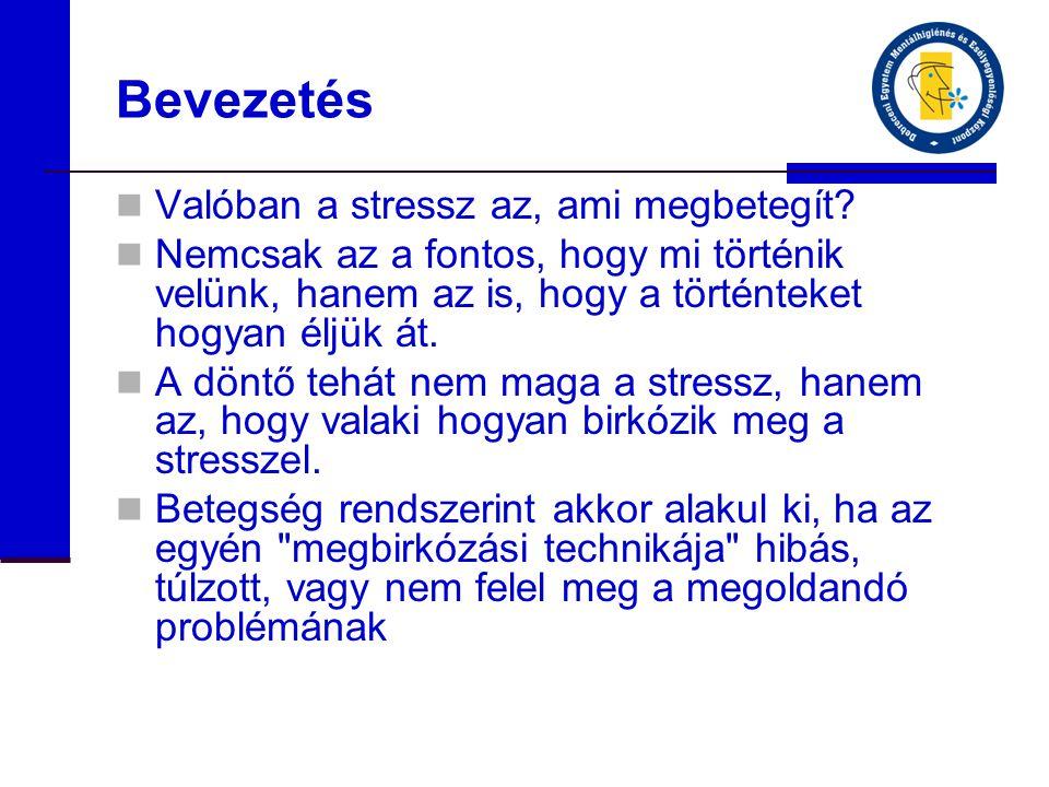 Bevezetés  Valóban a stressz az, ami megbetegít.