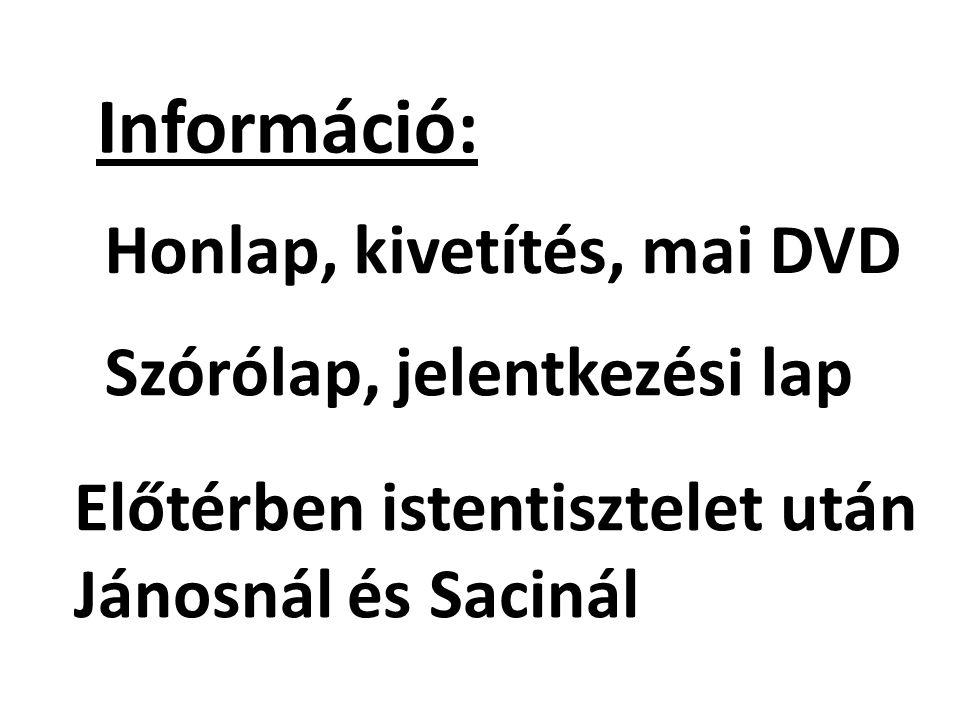 Információ: Honlap, kivetítés, mai DVD Szórólap, jelentkezési lap Előtérben istentisztelet után Jánosnál és Sacinál