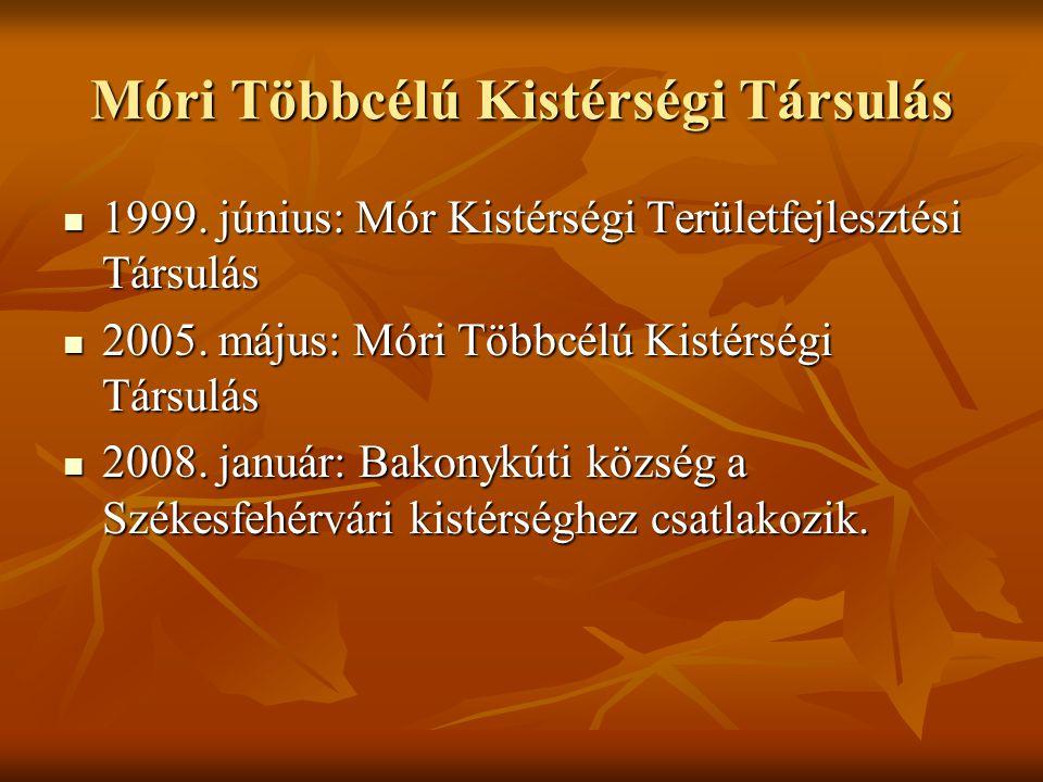 Móri Többcélú Kistérségi Társulás  1999. június: Mór Kistérségi Területfejlesztési Társulás  2005. május: Móri Többcélú Kistérségi Társulás  2008.