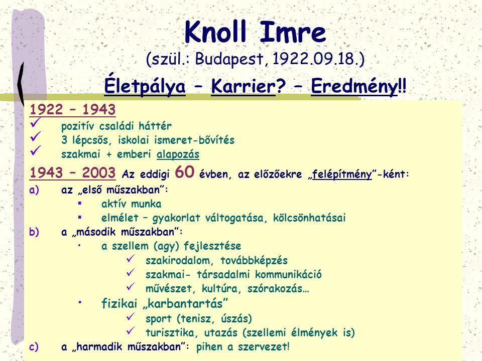 Knoll Imre (szül.: Budapest, 1922.09.18.) Életpálya – Karrier? – Eredmény!! 1922 – 1943  pozitív családi háttér  3 lépcsős, iskolai ismeret-bővítés