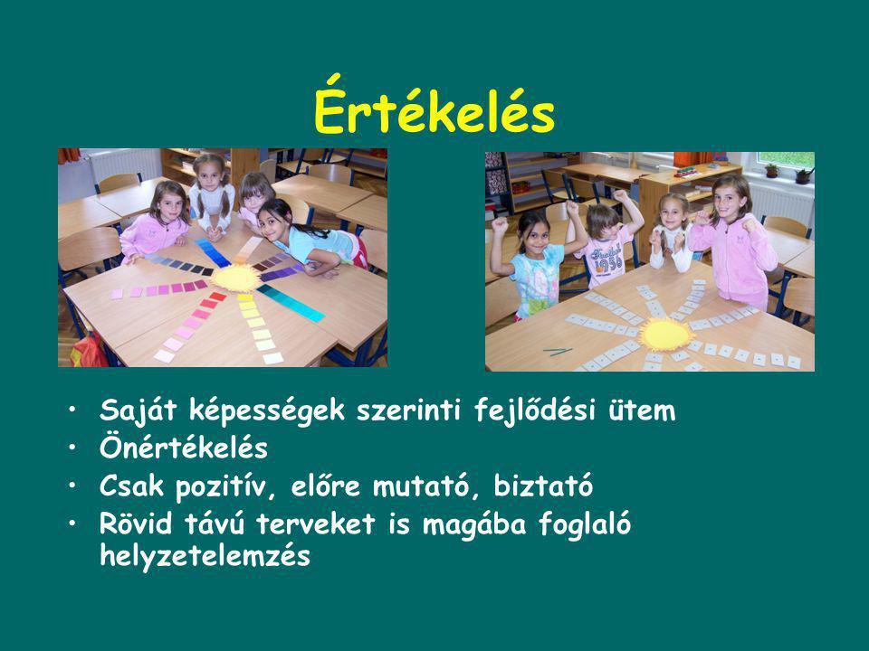 Munkaforma •Montessori iskolában: 1.önálló, felfedező tevékenység 2.csoportmunka, kevés frontális osztálymunka 3.önellenőrzés 4.feladatok szabad válas