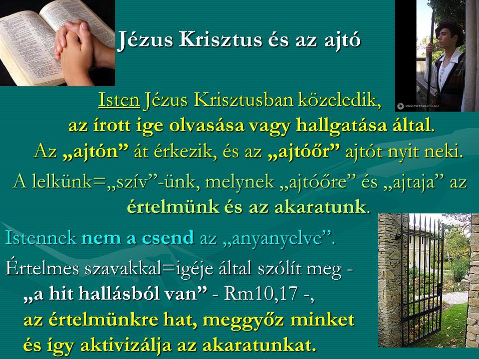 Jézus Krisztus és az ajtó Isten Jézus Krisztusban közeledik, az írott ige olvasása vagy hallgatása által.