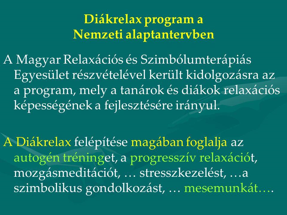 Diákrelax program a Nemzeti alaptantervben A Magyar Relaxációs és Szimbólumterápiás Egyesület részvételével került kidolgozásra az a program, mely a tanárok és diákok relaxációs képességének a fejlesztésére irányul.