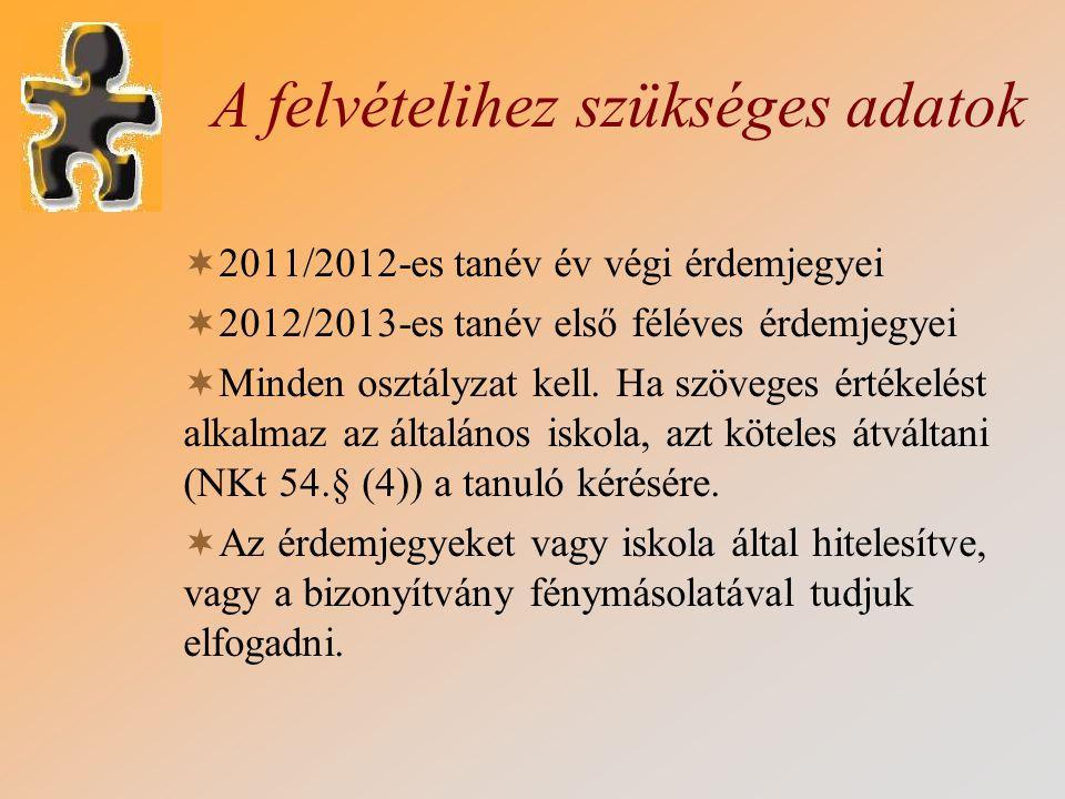 A felvételihez szükséges adatok  2011/2012-es tanév év végi érdemjegyei  2012/2013-es tanév első féléves érdemjegyei  Minden osztályzat kell. Ha sz
